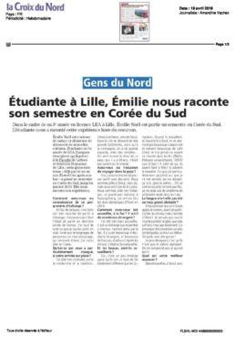 Revue de presse témoignage Emilie en Corée