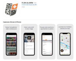 Capture d'écran de l'application mobile flsh alumni présentant les services